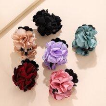 6pcs Multicolor Cloth Flower Decor Hair Claw