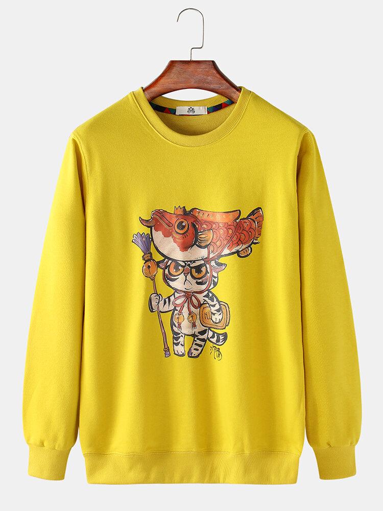 Mens Funny Cartoon Cat Print Loose Fit Leisure Pullover Sweatshirt