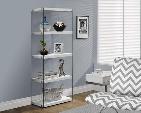 I 3289 Bookcase - 60H / Glossy White with Tempered