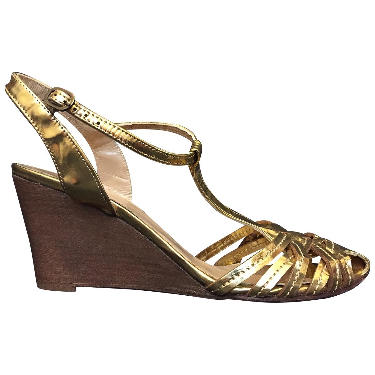 - Sandales   pour femme en cuir - metallise