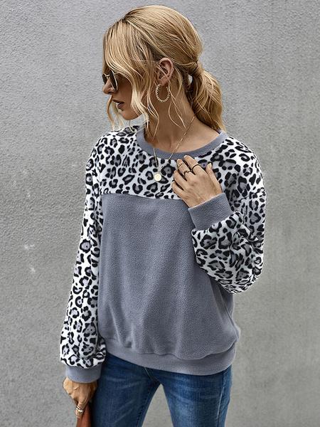 Milanoo Leopard Hoodie For Women Long Sleeves Flannel Hooded Sweatshirt