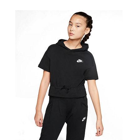 Nike Big Girls Cap Sleeve Hoodie, X-large , Black