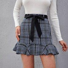 Ruffle Hem Belted Plaid Tweed Skirt