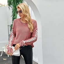 Lace Up Drop Shoulder Ribbed Knit Sweater