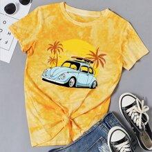 T-Shirt mit Batik und Auto Muster