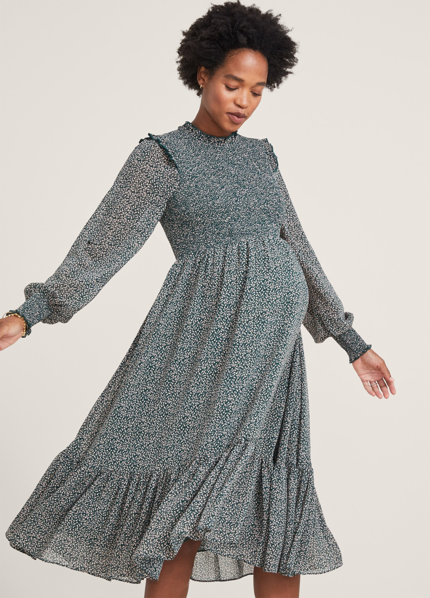 HATCH Maternity The Lana Dress, Forest Ditsy, Size 3