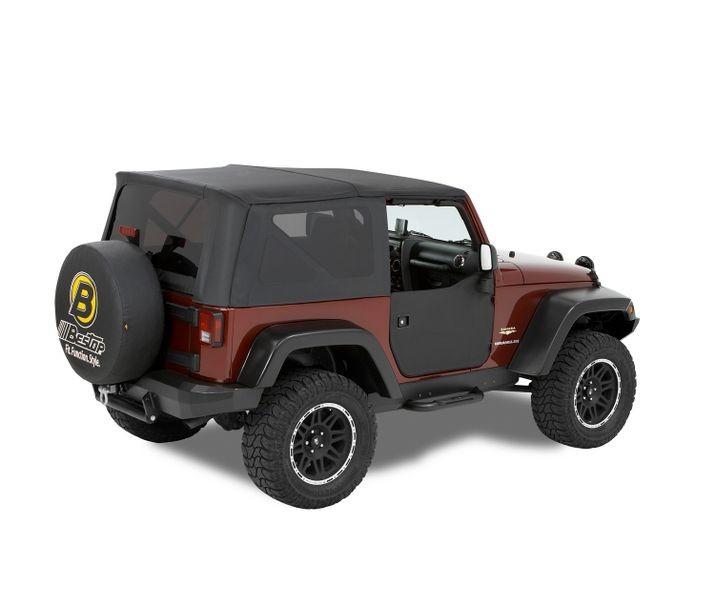Bestop 53040-35 Black Diamond Front Door Lower Fabric Half Doors Jeep Wrangler 2007-2018