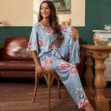 Floral Print Lace Trimed Top & Bow Pants Pajama Set