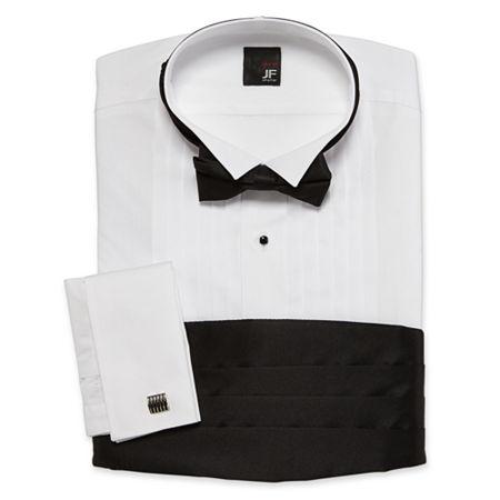 JF J. Ferrar Tuxedo Shirt Set, 17-17.5 34-35, White