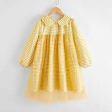 Girls Gingham Mesh Overlay Button Front Dress