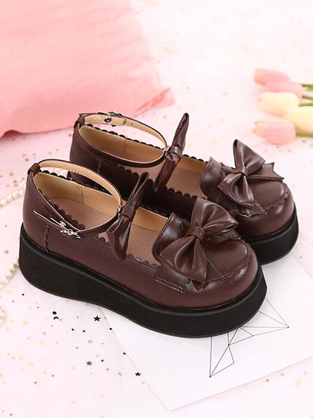 Milanoo Sweet Lolita Footwear Bow Ankle Strap Platform Lolita Pumps