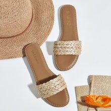 Open Toe Braided Slide Sandals