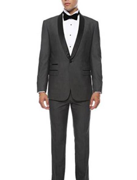 Mens Slim Fit 1 Button Shawl Collar Dinner Jacket Blazer Sport Coat