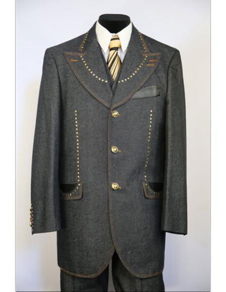 Mens Wide Peak Lapel brass & faux leather accents denim 3pc zoot suit