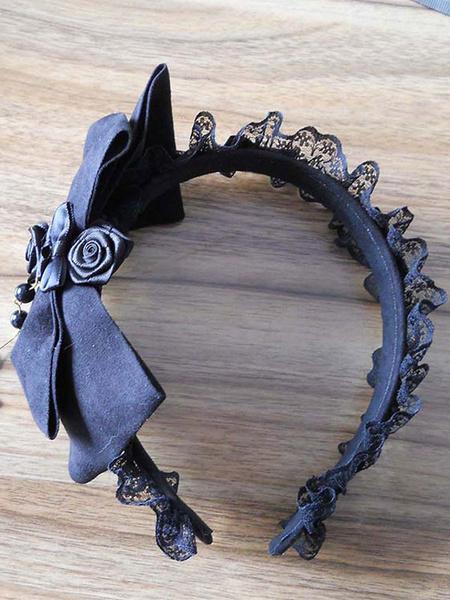 Milanoo Encaje negro flor arco Lolita sintetica accesorios para el cabello