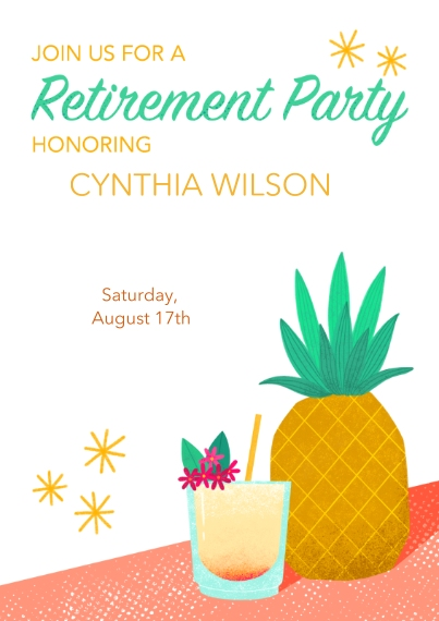 Retirement Cards 5x7 Cards, Premium Cardstock 120lb with Scalloped Corners, Card & Stationery -TikiRetirementInvitation