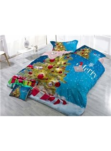 Christmas Tree Snowflakes Wear-resistant Breathable High Quality 60s Cotton 4-Piece 3D Bedding Sets