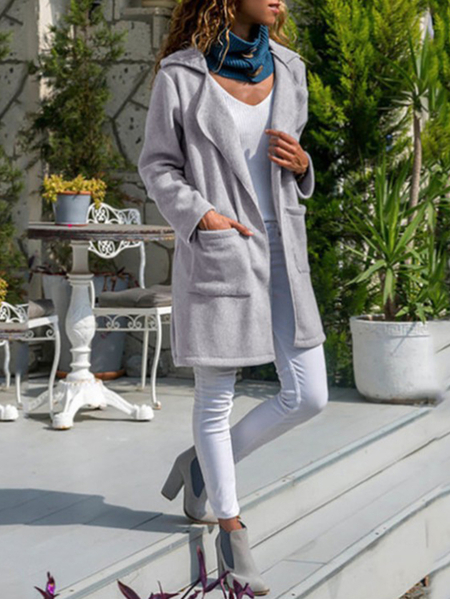 Yoins Grey Side Pockets Notch Collar Long Sleeves Trench Coat