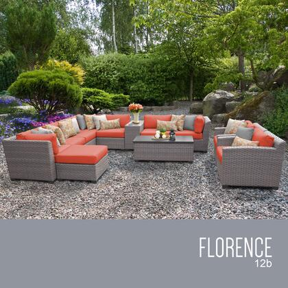 FLORENCE-12b-TANGERINE Florence 12 Piece Outdoor Wicker Patio Furniture Set 12b with 2 Covers: Grey and