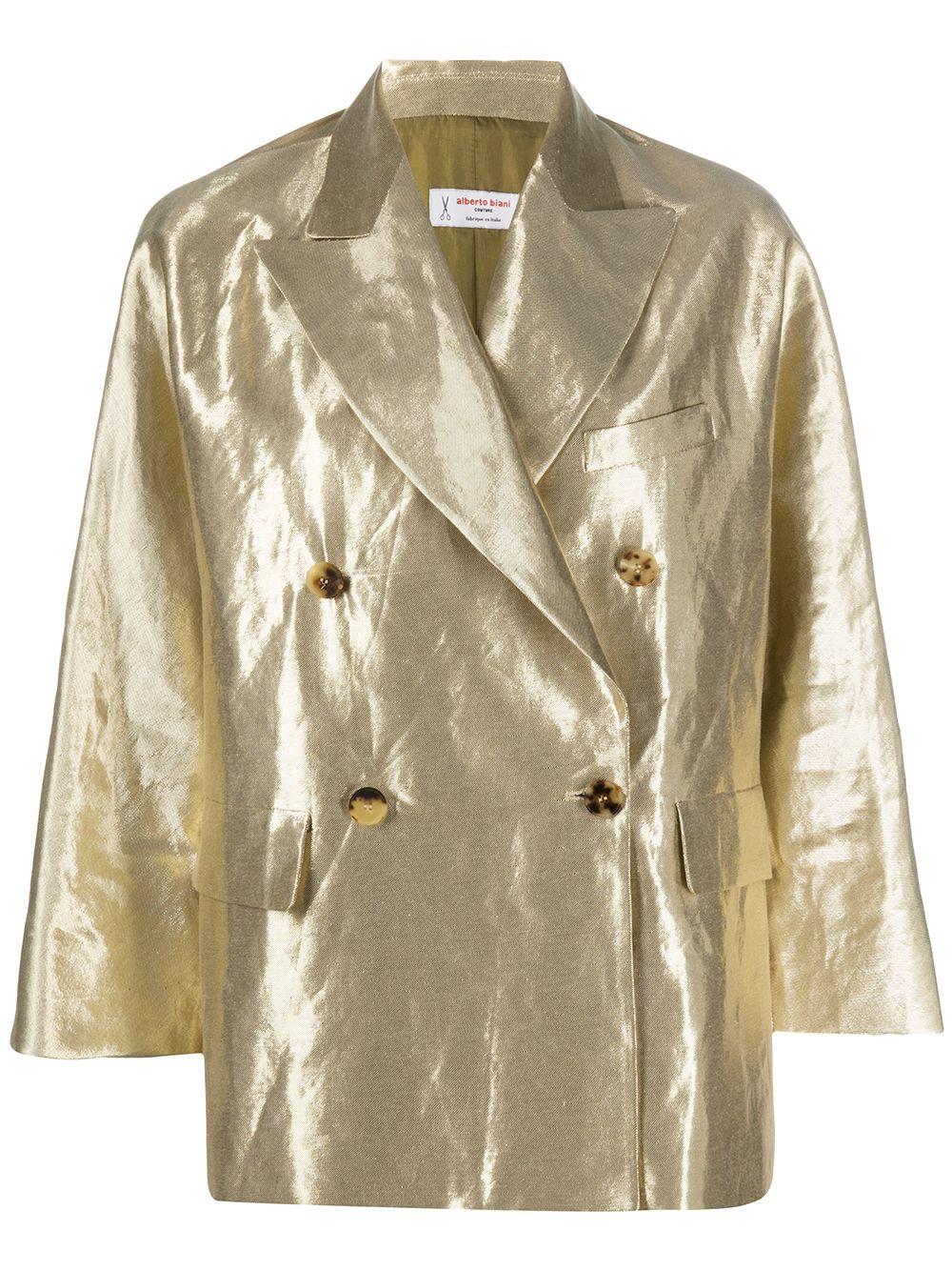 Cotton Blend Metallic Double-breasted Blazer