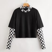 2 In 1 Contrast Checkerboard High Neck Tee