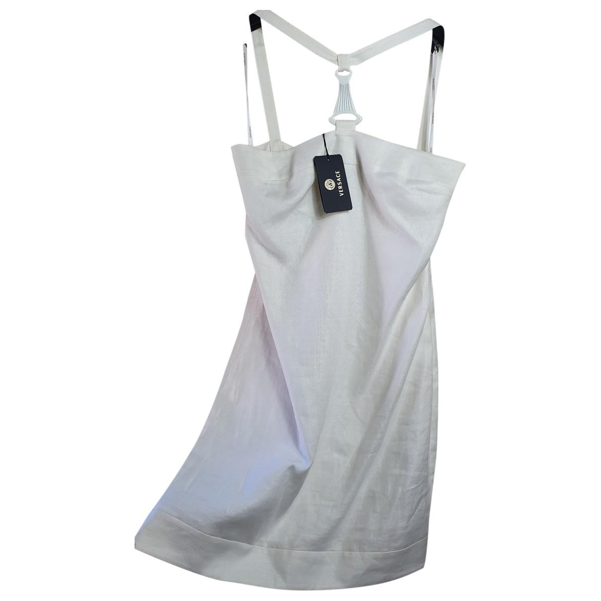 Versace \N Kleid in  Weiss Leinen