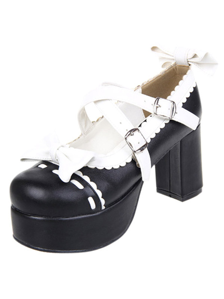 Milanoo Glorious White High Heels Platform PU Womens Lolita Shoes