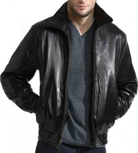 Classic Black Front Zipper Closure Lambskin Leather Bomber Jacket