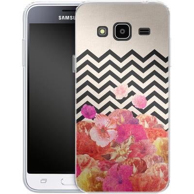Samsung Galaxy J3 (2016) Silikon Handyhuelle - Chevron Flora II von Bianca Green