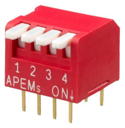 APEM 4 Way Through Hole Piano Dip Switch SPST, Piano Actuator (39)