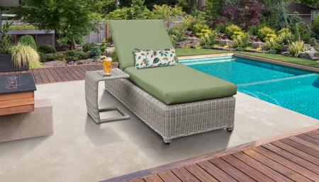 Coast Collection COAST-W-1x-ST-CILANTRO Patio Set with 1 Chaise with Wheels  1 Side Table - Beige and Cilantro