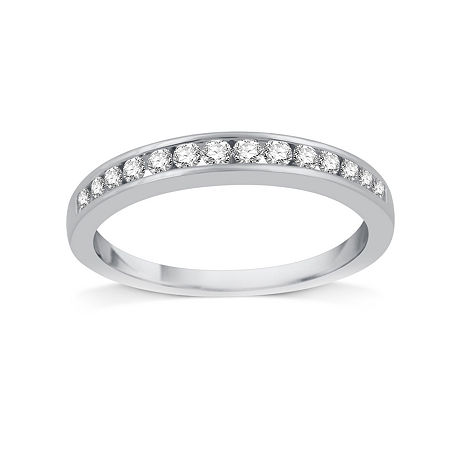 1/4 CT. T.W. Diamond 10K White Gold Band, 8 , No Color Family