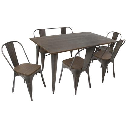 DS-TW-OR6036 E6 Oregon 6pc Industrial Farmhouse Dining Set in Antique and