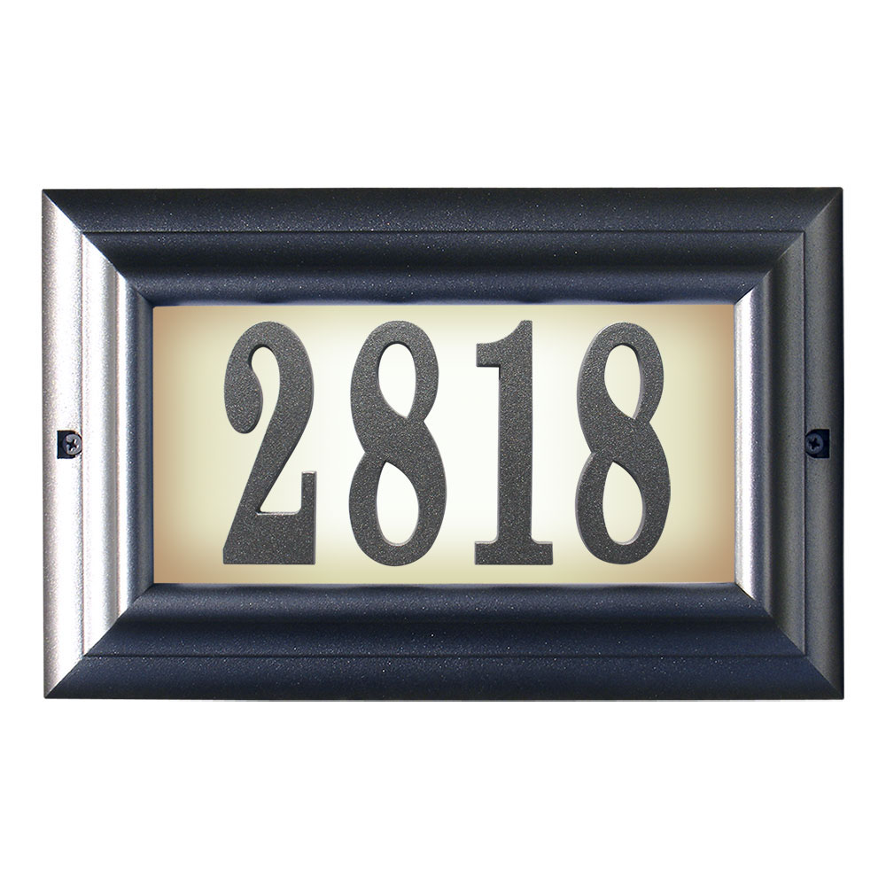 Edgewood Large Lighted Address Plaque in Pewter Frame Color with LED Bulbs