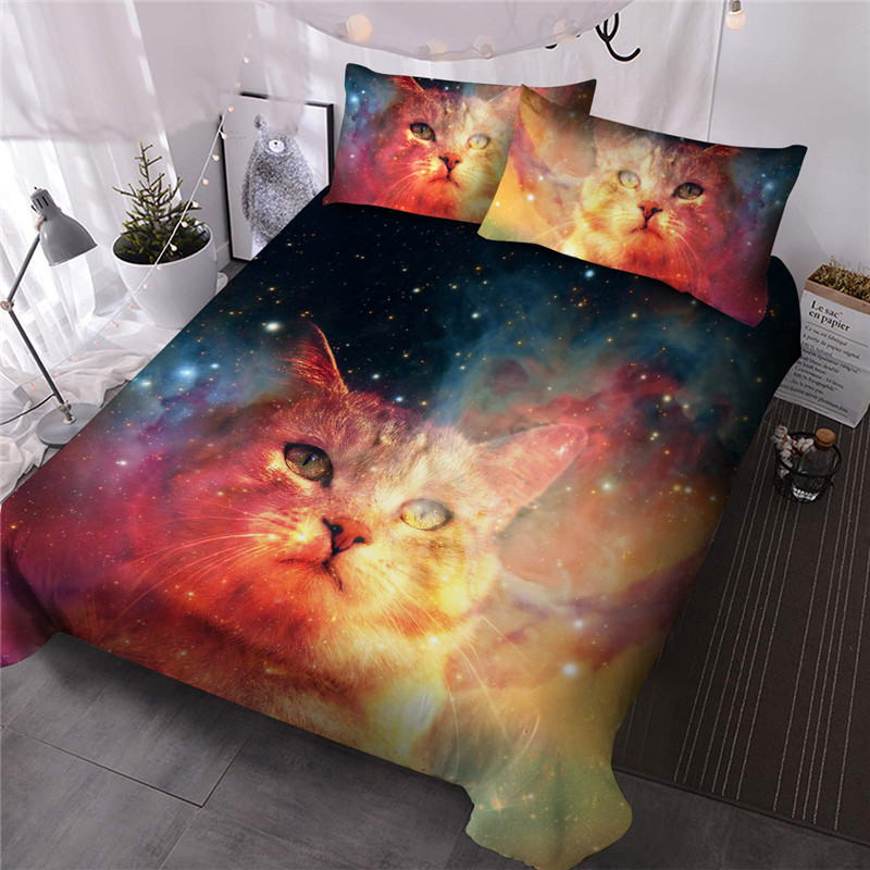 Cat Galaxy Comforter Set Reactive Printing Three-Piece Set Polyester Bedding Sets