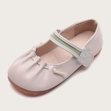 Toddler Girls Ruched Velcro Strap Flats