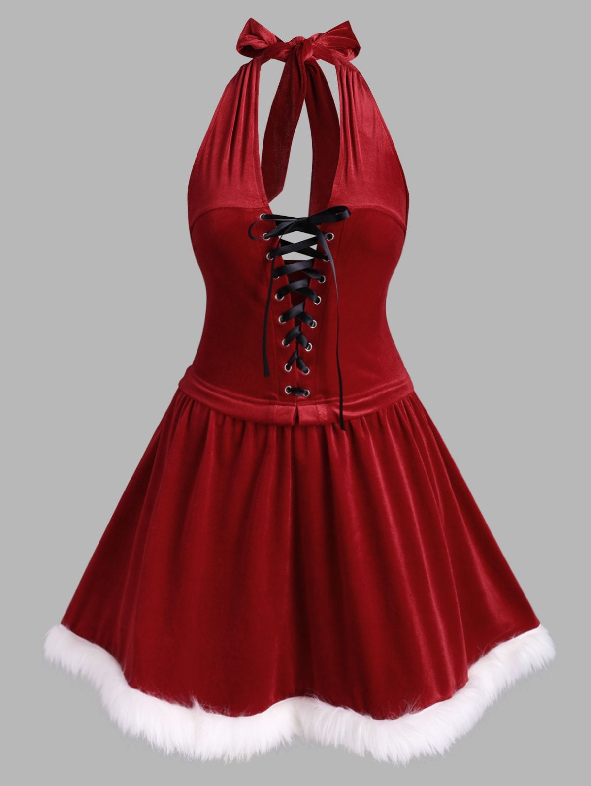Plus Size Christmas Velvet Open Back Halter Dress