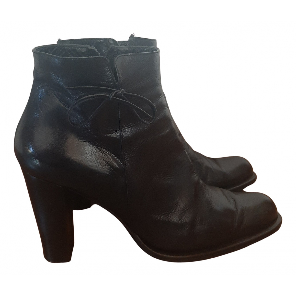Non Signé / Unsigned N Black Leather Ankle boots for Women 40 IT