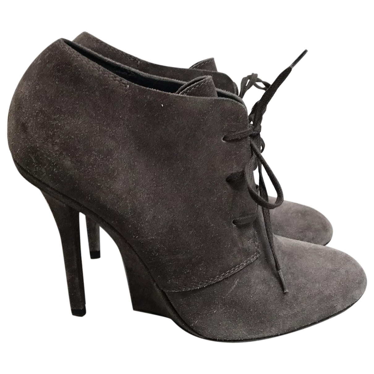 Yves Saint Laurent \N Grey Suede Ankle boots for Women 38 EU