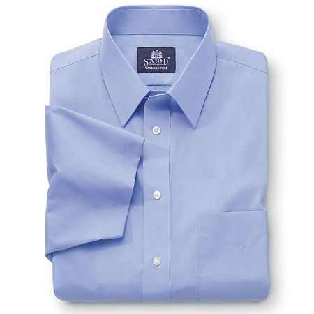 Stafford Mens Short Sleeve Travel Easy-Care Broadcloth Stretch Big and Tall Dress Shirt, 17 , No Color Family