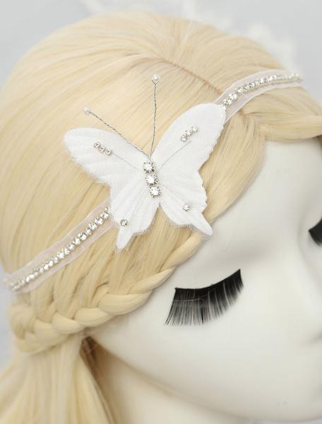Milanoo Casco mariposa forma diadema nupcial de la boda de diamante de imitacion