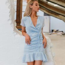 Kleid mit Raffungsaum, Ruesche und Punkten Muster