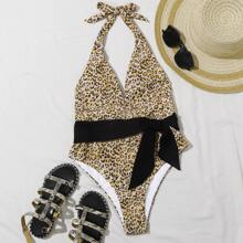Leopard Belted Plunging One Piece Swimsuit