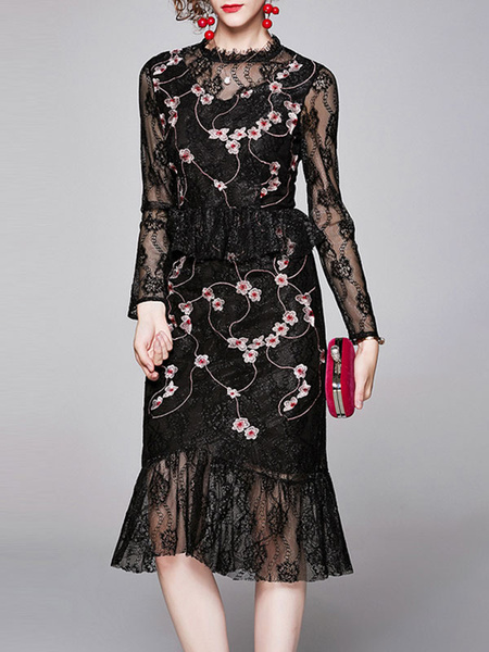 Milanoo Vestidos ajustados Vestido de tubo de manga larga informal bordado transparente plisado negro estampado