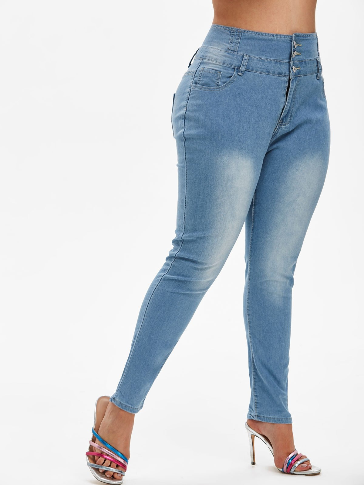 Contrast Stitching High Waisted Plus Size Skinny Jeans