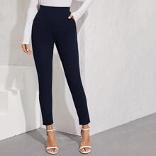 Pantalones bajo con abertura de cintura elastica