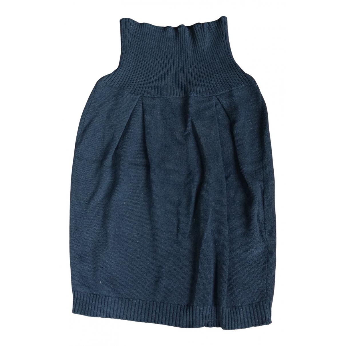 Benetton - Jupe   pour femme en laine - noir