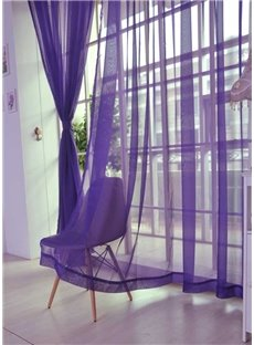 Modern Pure Colored Purple Custom Sheer Curtain