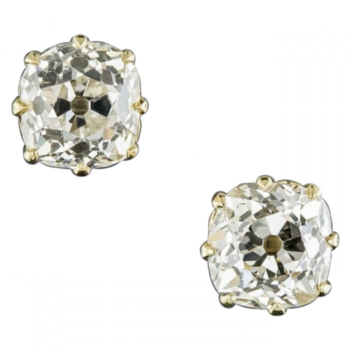 Non Signe / Unsigned Puces en diamants OhrRing in  Weiss Gelbgold