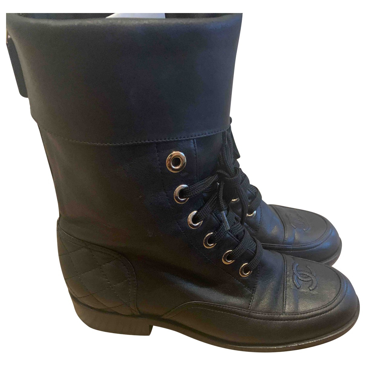 Chanel \N Black Leather Boots for Women 36 EU